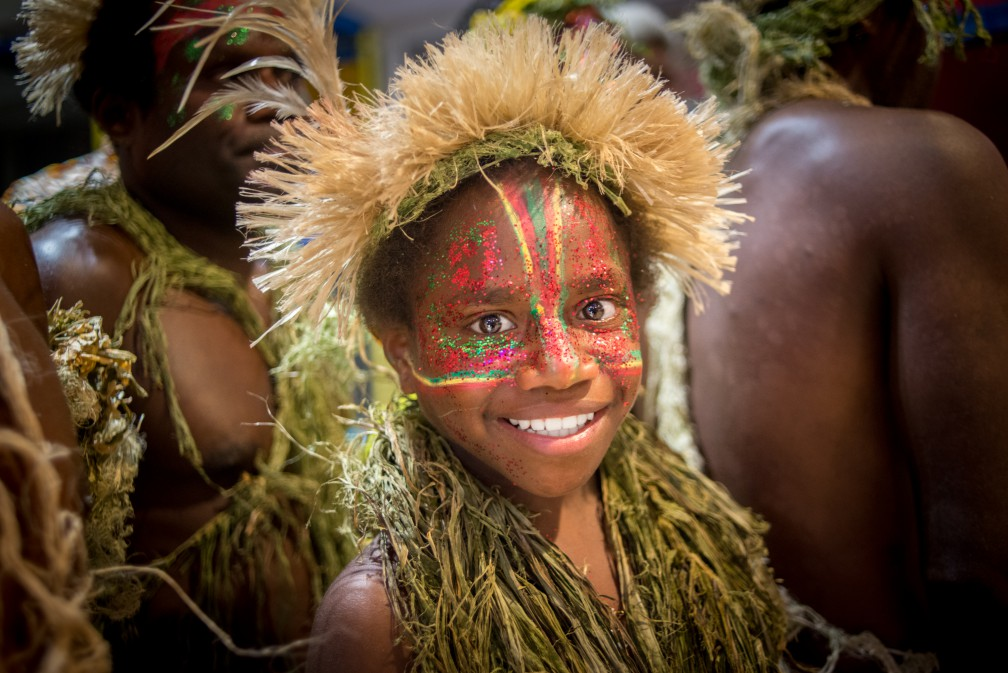 One of the stars of the movie Tanna, nine year-old Marceline, smiles during the gala premiere of the movie at Tana Cine in Port Vila. Tanna opens to the public tomorrow.